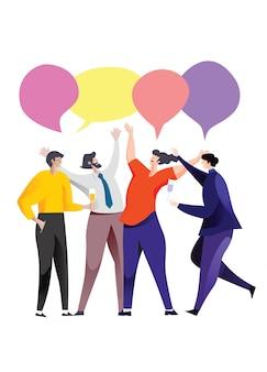Encuentro empresarial y discusión con el trabajo en equipo.