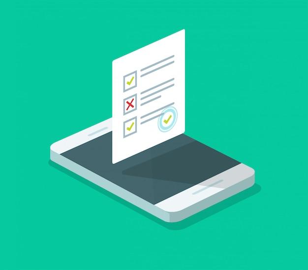 Encuesta de cuestionario en línea en teléfono móvil isométrico