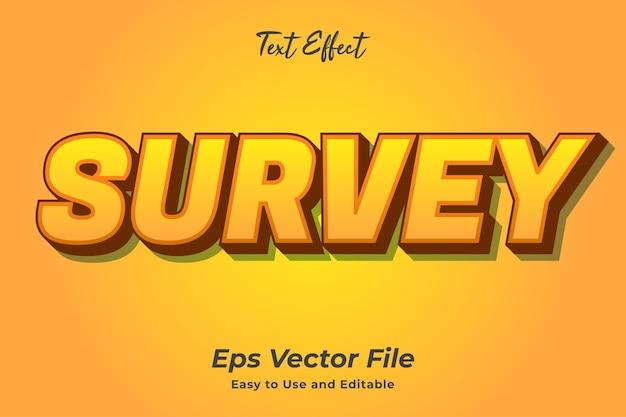 Encuesta de efectos de texto editable y fácil de usar vector premium