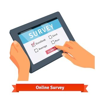 Encuesta en línea sobre una tableta
