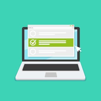 Encuesta de formulario en línea en la computadora portátil. ilustración. diseño de estilo plano