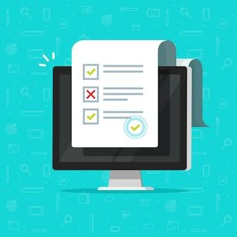 Encuesta de formulario en línea o resultados de pruebas de internet en dibujos animados de ilustración de computadora