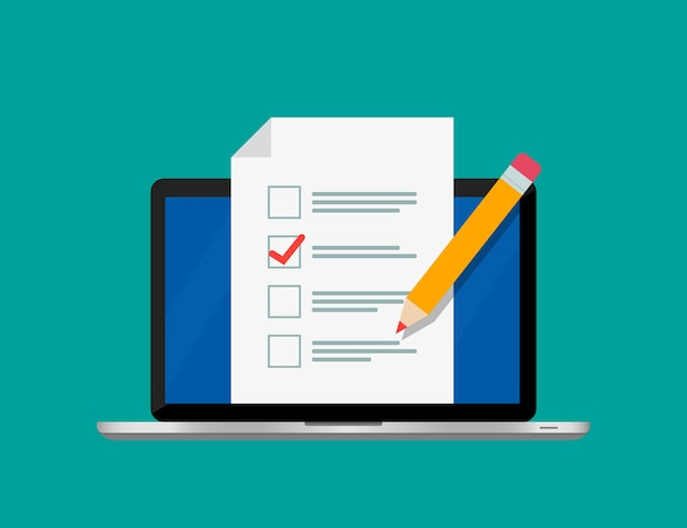 Encuesta de formulario en línea en la pantalla del portátil.