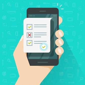 Encuesta de formulario en línea en teléfono celular o teléfono móvil y documento de hoja de examen de cuestionario como ilustración de resultados de cuestionario en línea, dibujos animados plana