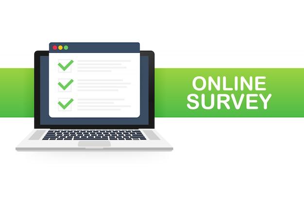 Encuesta en línea, lista de verificación, icono de cuestionario. laptop, pantalla de la computadora. comentarios de negocios. ilustración.