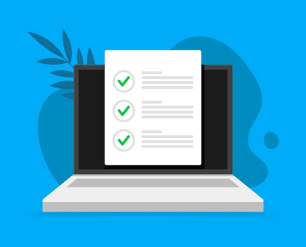 Encuesta en línea, lista de verificación, icono de cuestionario