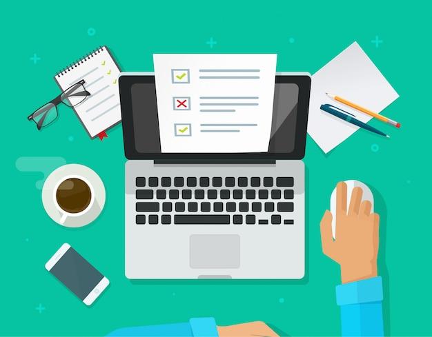 Encuesta en línea o examen de prueba en computadora portátil