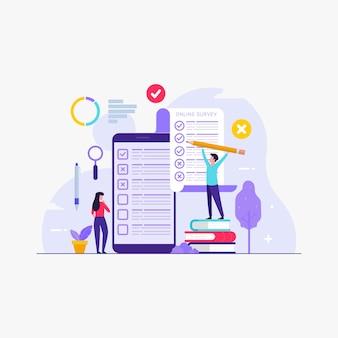 Encuesta en línea y sondeos con personas que llenan el formulario de encuesta en línea
