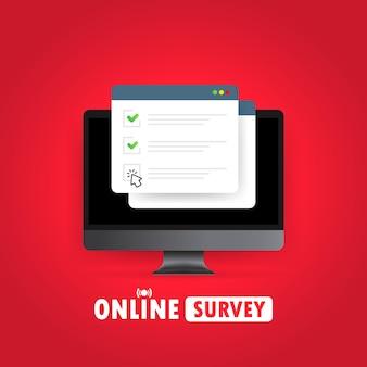 Encuesta online. verifique el formulario en línea de la lista en la computadora.