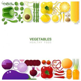 Endecha plana verduras frescas en blanco