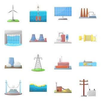 Energía y alternativa. establecer el símbolo de acciones de energía y desarrollo.