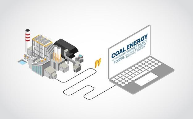 Energía de carbón, planta de energía de carbón con gráfico isométrico.