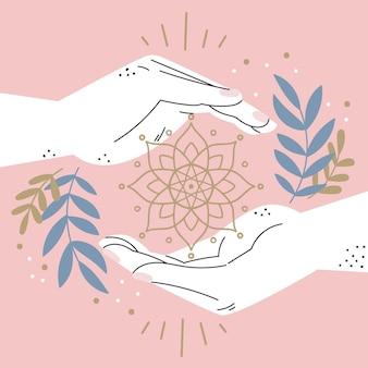 Energía curativa manos diseño dibujado a mano