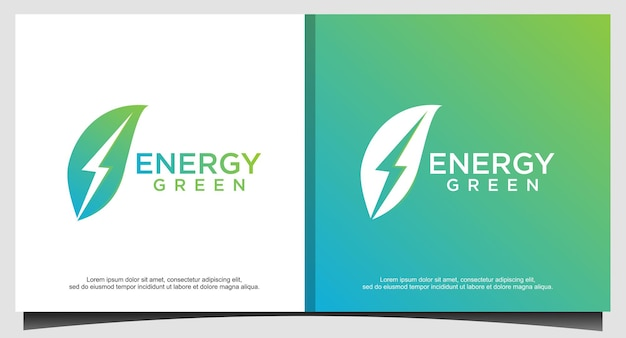 Energía ecológica con vector de diseño de logotipo de hoja