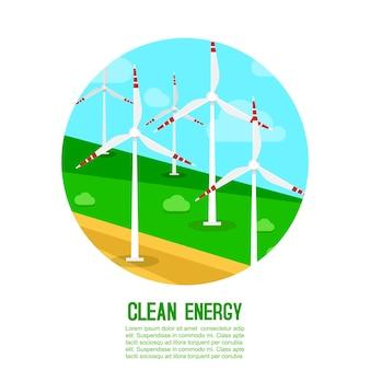 La energía eólica genera plantilla de ilustración energética
