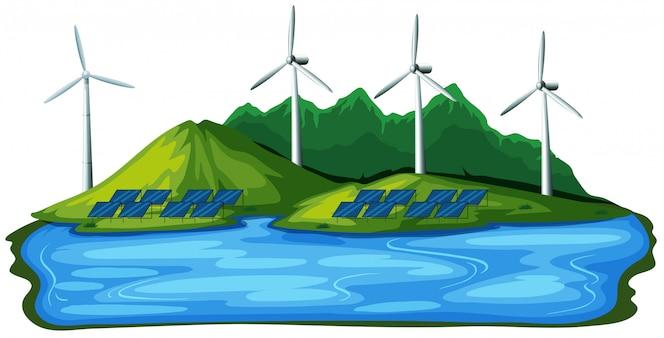 Energía eólica natural sobre fondo blanco