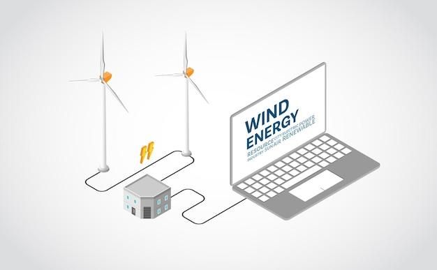 Energía eólica, planta de energía eólica en gráfico isométrico.