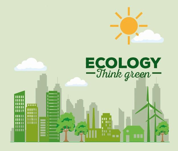 Energía eólica y solar con edificio y fábrica.
