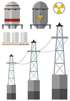Energía fijada con el tanque de combustible y cables de electricidad