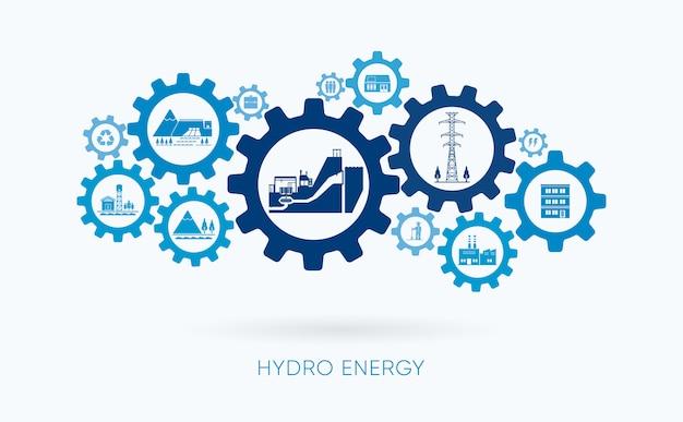 Energía hidráulica, planta de energía hidroeléctrica con icono de engranaje
