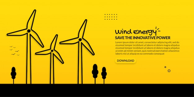 Energía innovadora de turbina eólica sobre fondo amarillo, concepto de generación de electricidad