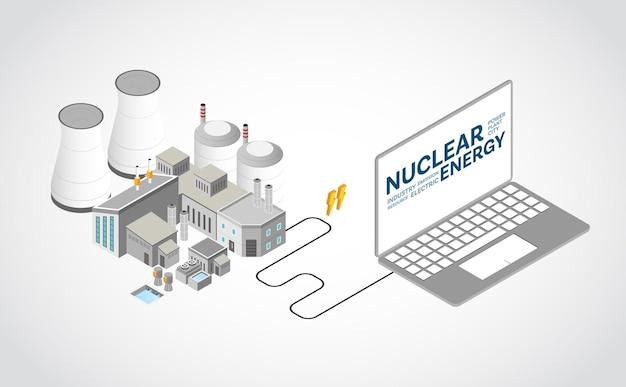 Energía nuclear, planta de energía nuclear con gráfico isométrico.