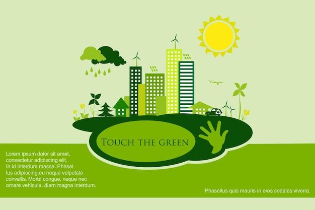 Energía renovable con elementos del agua del sol, viento y tierra.