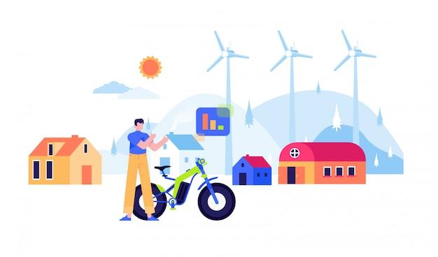 Energía renovable molino de viento panel solar nuclear electricidad diseño plano ilustración
