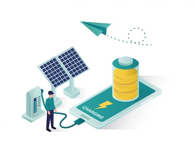 Energía renovable mediante panel solar para cargar una ilustración isométrica de un teléfono móvil o teléfono inteligente