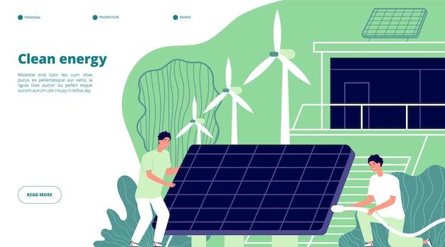 Energía renovable. red inteligente, almacenamiento renovable. futuro sistema eléctrico solar. página de inicio de ingenieros de baterías ambientales. página de dibujos animados de energía renovable, reciclar ilustración verde