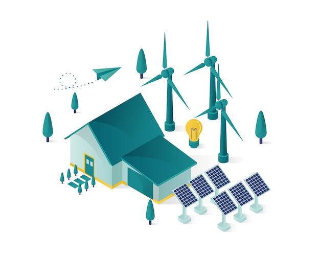 Energía renovable usando el panel solar para una ilustración isométrica de la casa