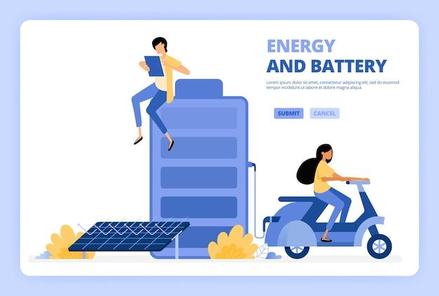 Energía verde de baterías de células solares