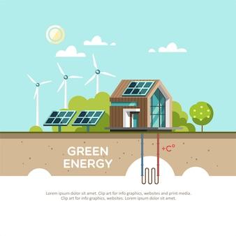 Energía verde una casa ecológica: energía solar, energía eólica, energía geotérmica.