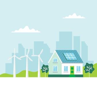 Energía verde con una casa