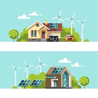 Energía verde y casas ecológicas: energía solar, energía eólica. ilustración del concepto.