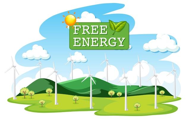 Energía verde generada por aerogeneradores