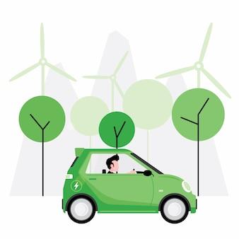 La energía verde o alternativa cuenta con personas que conducen un automóvil eléctrico