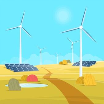 Energía verde. paisaje con tribuna de viento y batería solar. ilustración