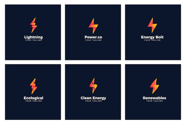 Energy bolt power logo templates
