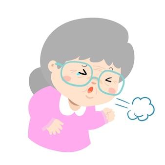 Enferma abuela tosiendo fuerte causa vector de enfermedad de gripe
