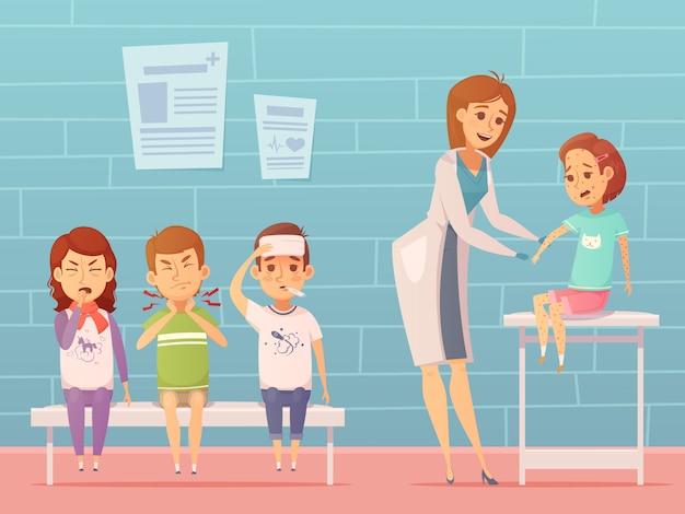Enfermedades infantiles en la composición de la oficina de médicos con personajes de dibujos animados enfermos