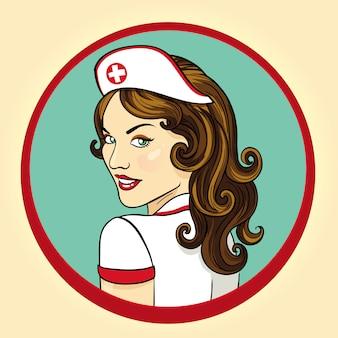 Enfermera atractiva ilustración retro