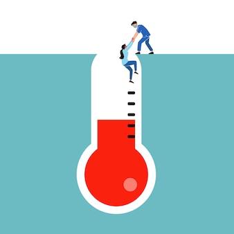 Enfermera ayuda al paciente con temperatura alta
