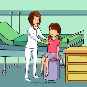 Enfermera ayudando a paciente dibujada a mano