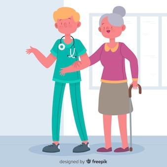 Enfermera ayudando a un paciente dibujado a mano