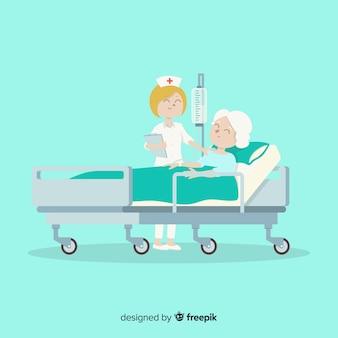 Enfermera ayudando a un paciente en diseño plano