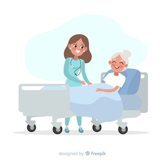 Enfermera ayudando a paciente enfermo