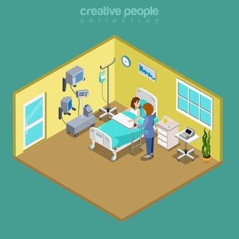Enfermera de la cama del paciente de la sala del hospital que visita el médico isométrico plano