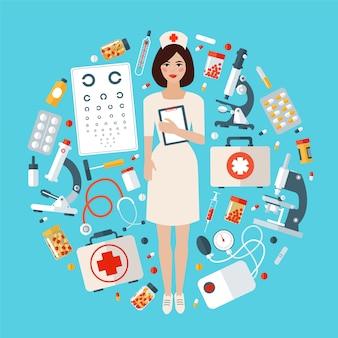 Enfermera con conjunto de iconos médicos. cosas de cuidado de la salud