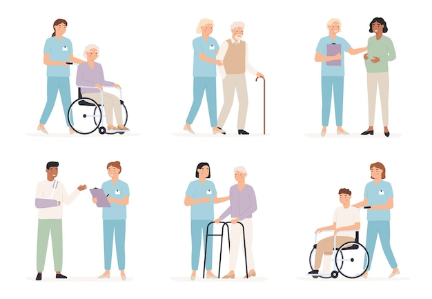 La enfermera cuida del paciente. médicos de familia con personas en el hospital, examen de rayos x